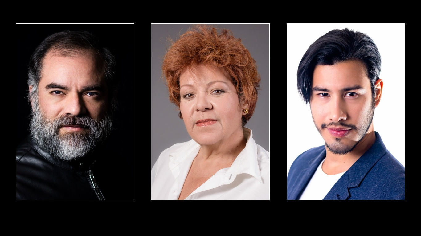 Headshots de Irving Gutiérrez, Betty Hass y Rafael Camacho